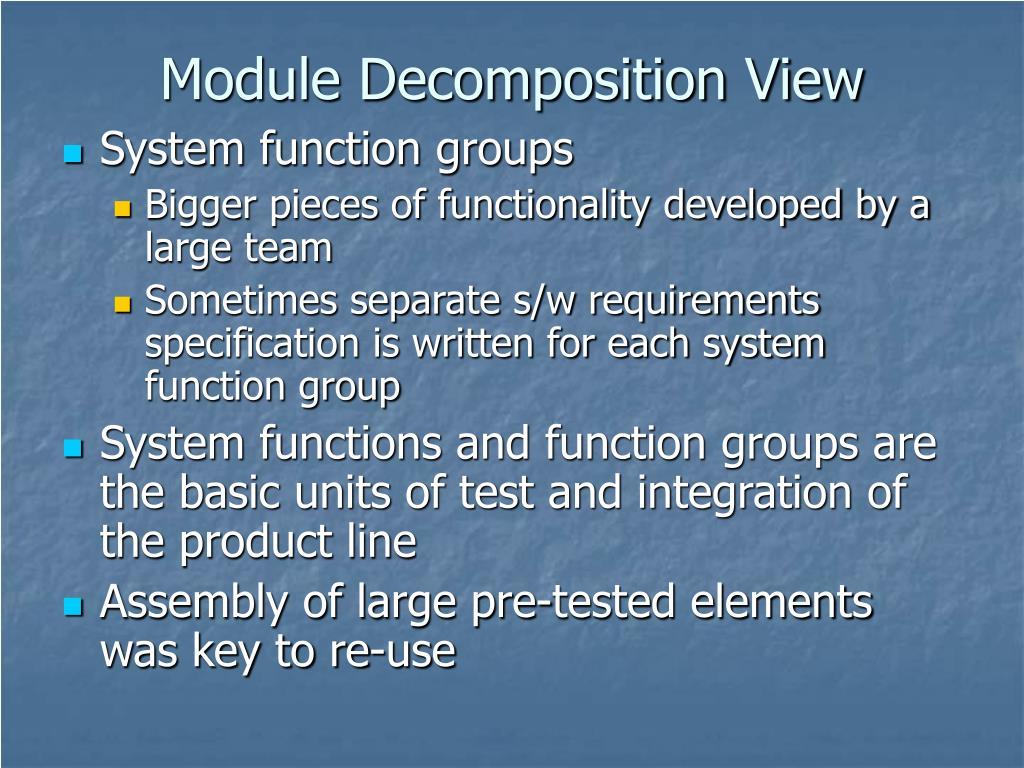 Module Decomposition View