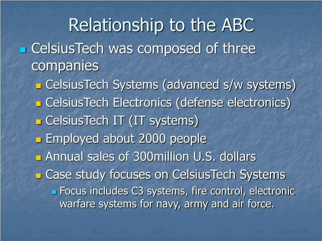 Relationship to the ABC