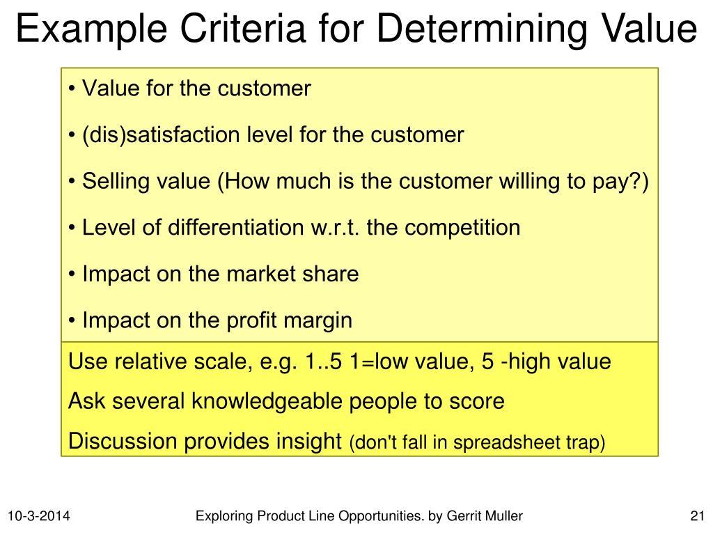 Example Criteria for Determining Value