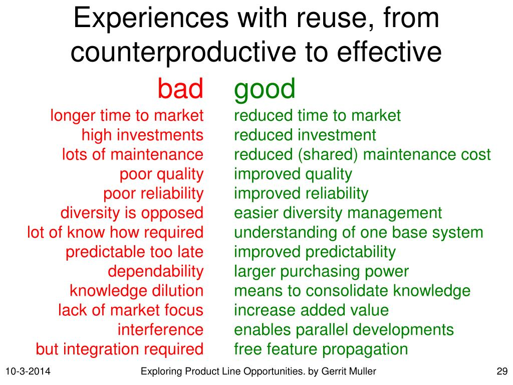 Experiences with reuse, from counterproductive to effective