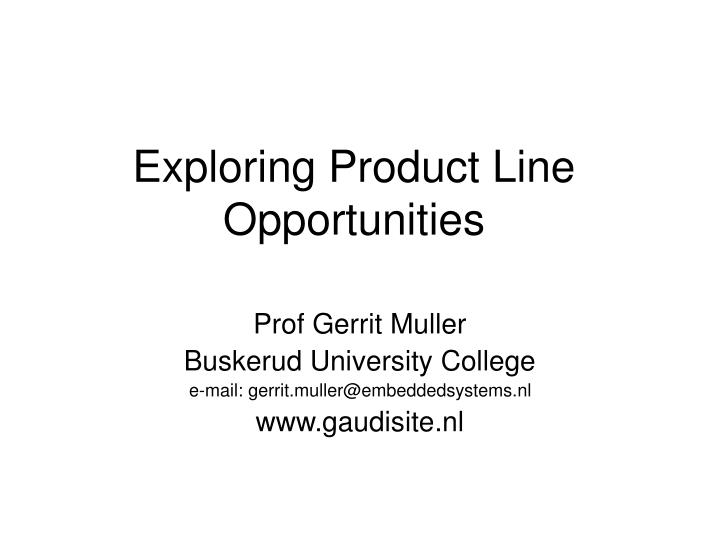 Exploring product line opportunities