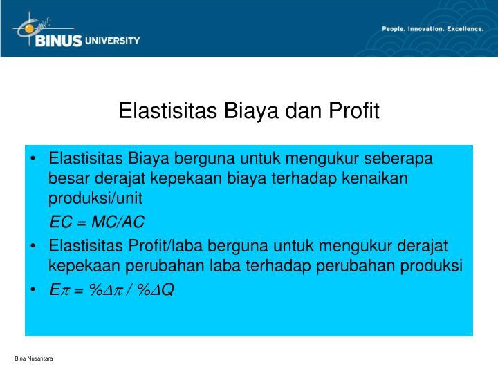 Elastisitas Biaya dan Profit
