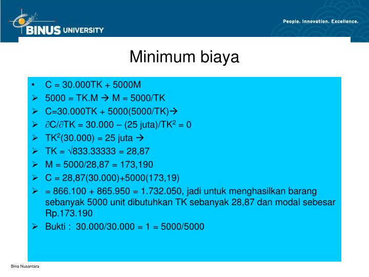 Minimum biaya