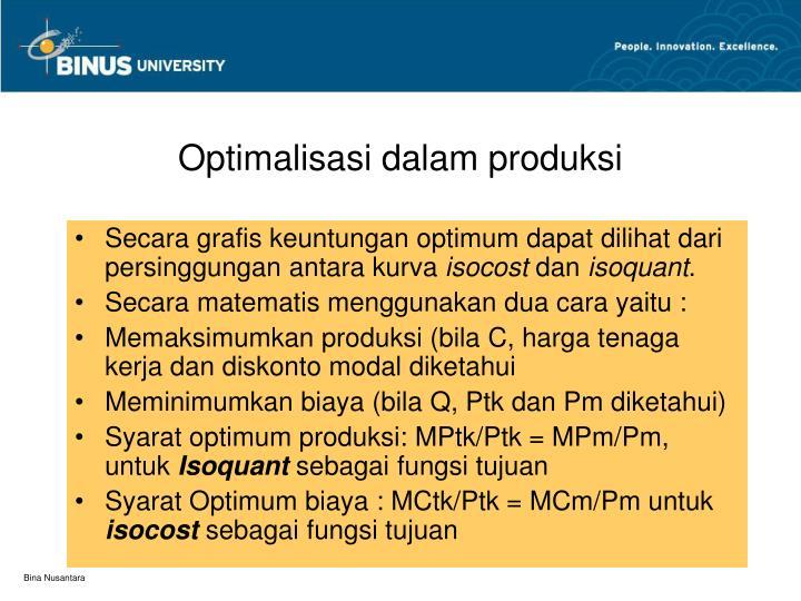Optimalisasi dalam produksi