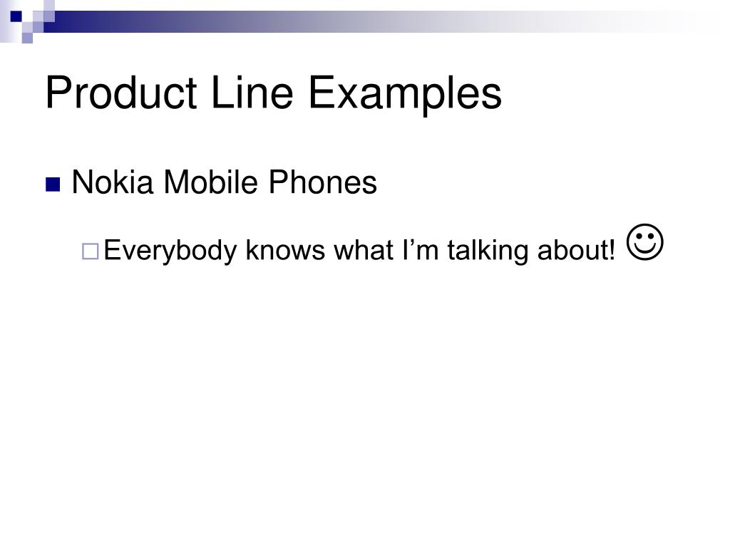 Product Line Examples