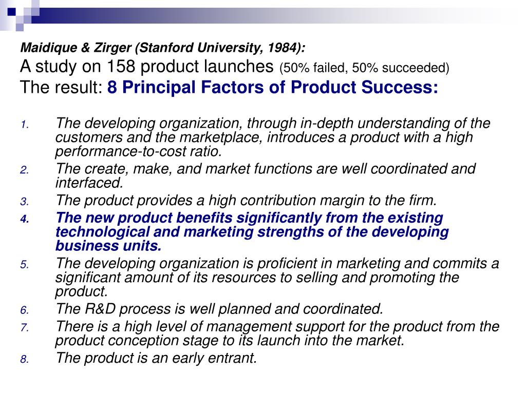 Maidique & Zirger (Stanford University, 1984):