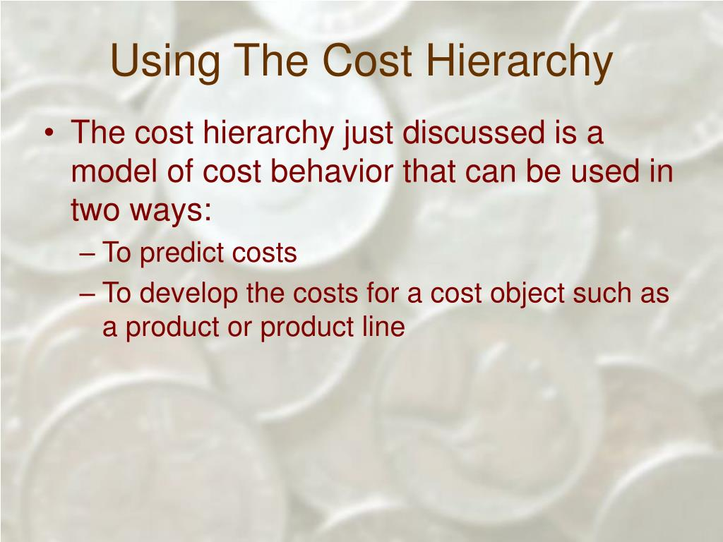 Using The Cost Hierarchy