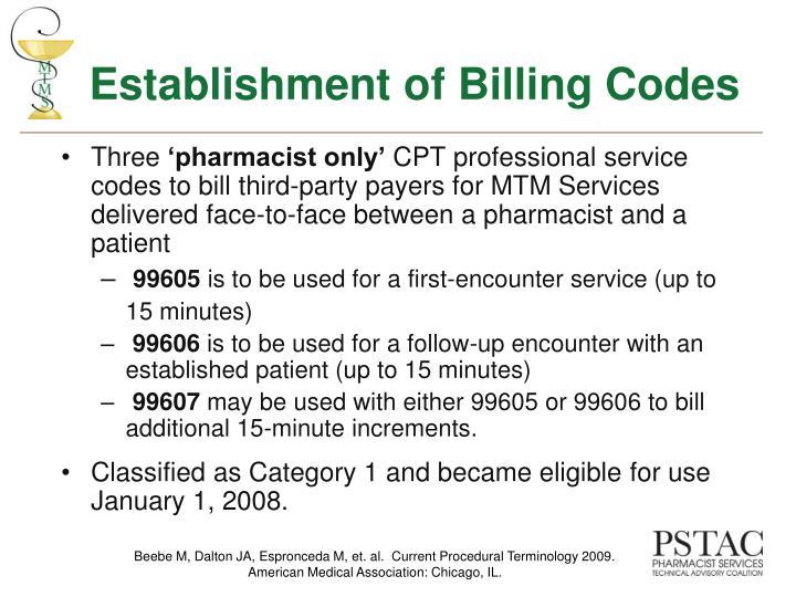 Establishment of Billing Codes