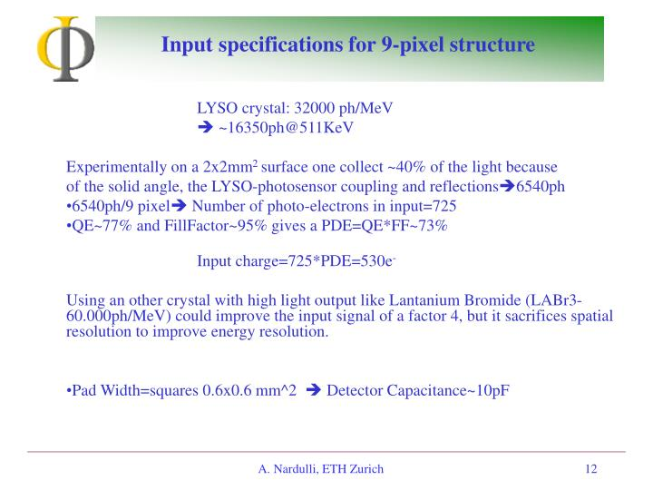 Input specifications for 9-pixel structure