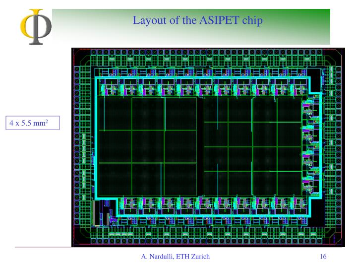 Layout of the ASIPET chip