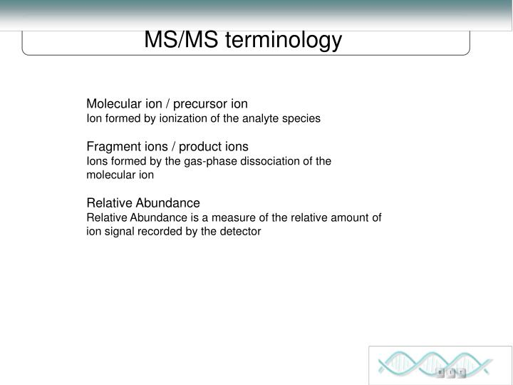 MS/MS terminology