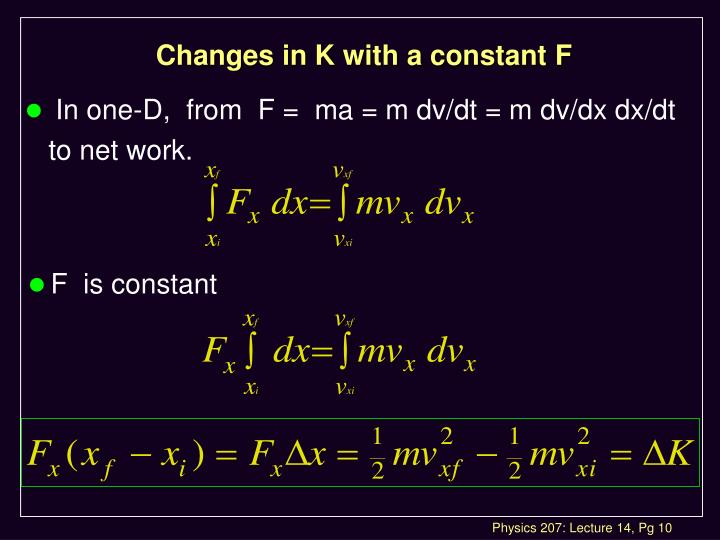 Changes in K with a constant F