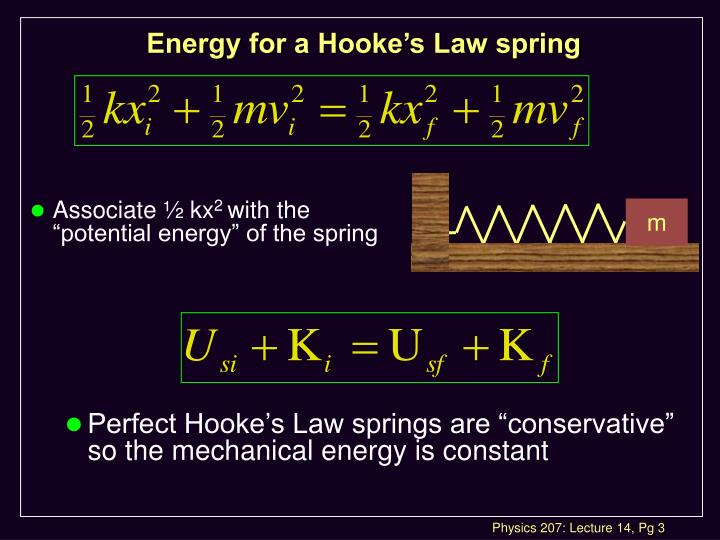 Energy for a hooke s law spring