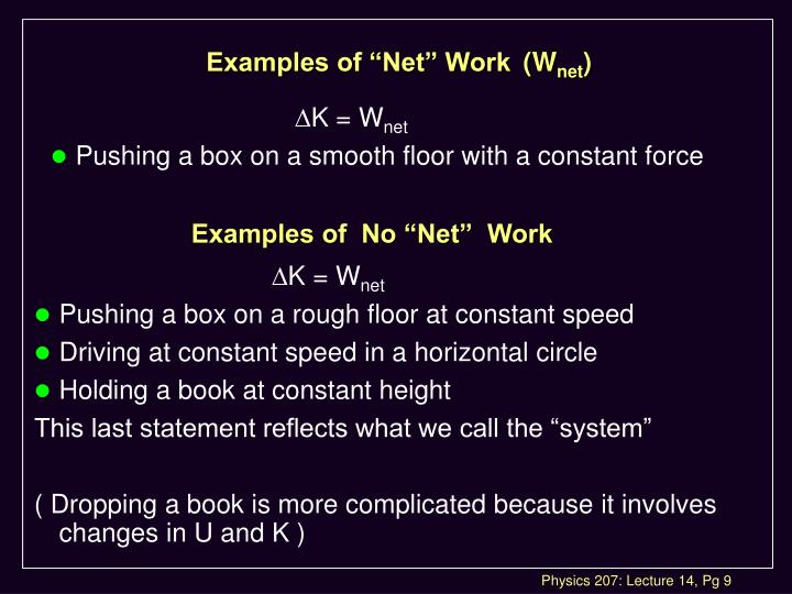 "Examples of ""Net"" Work	(W"