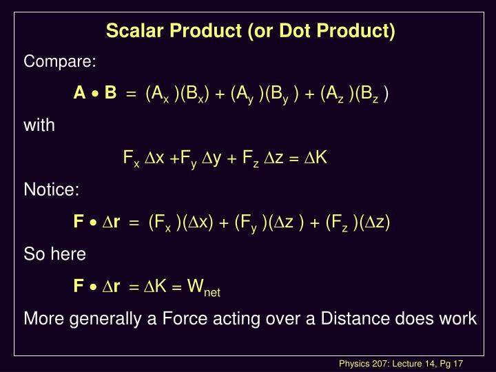 Scalar Product (or Dot Product)
