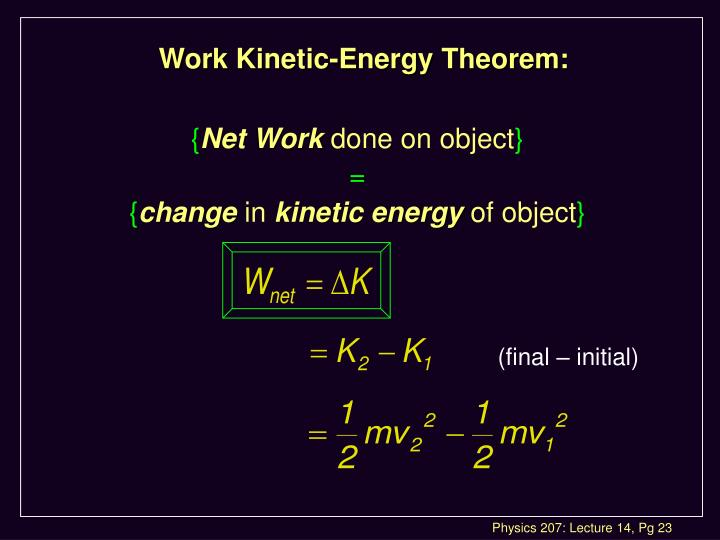 Work Kinetic-Energy Theorem: