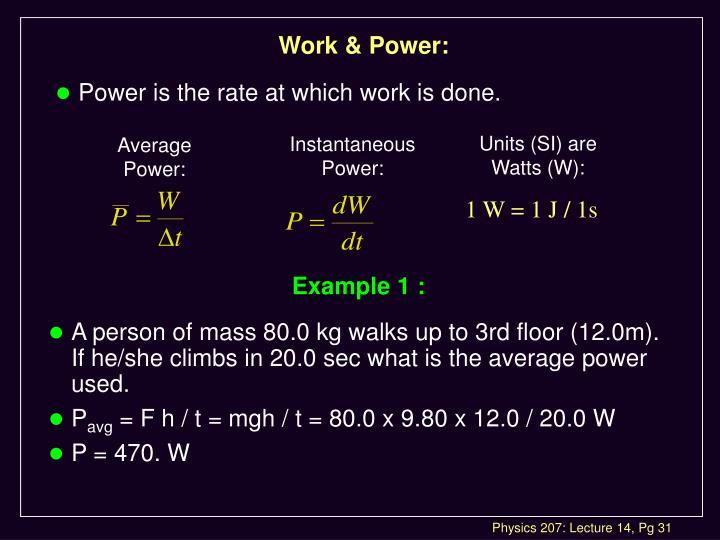 Work & Power: