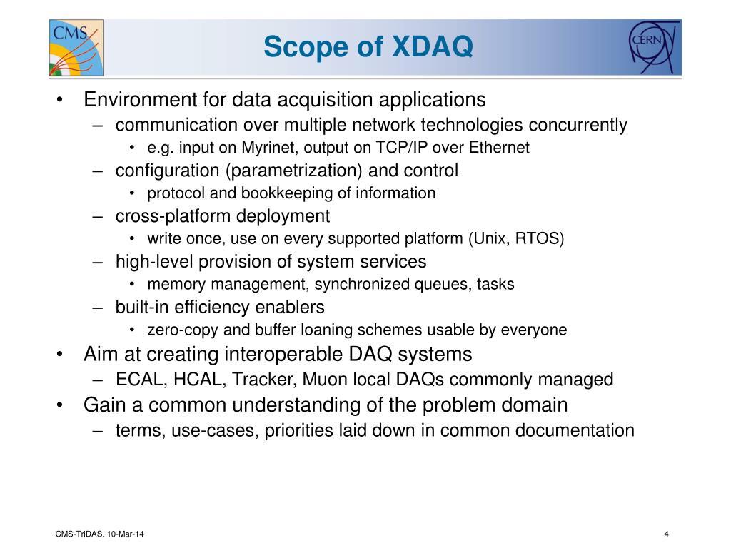 Scope of XDAQ