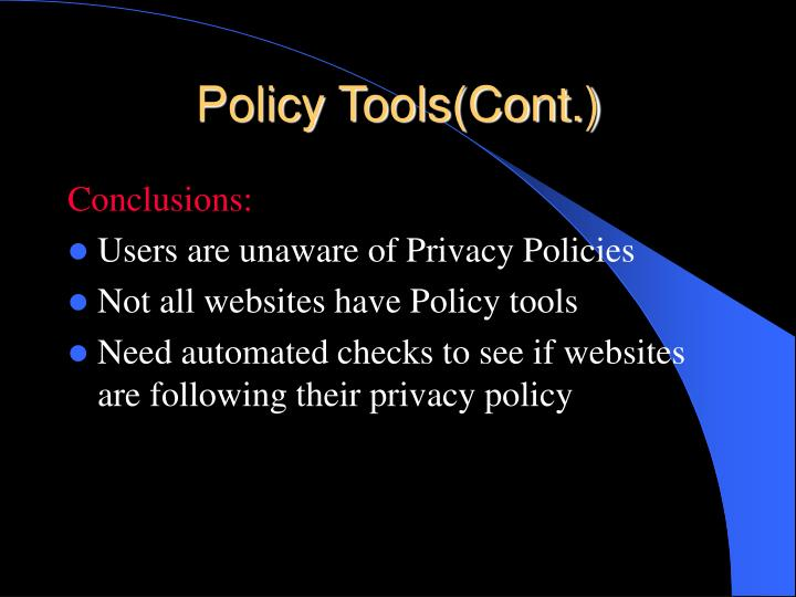 Policy Tools(Cont.)