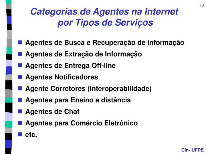 Categorias de Agentes na Internet