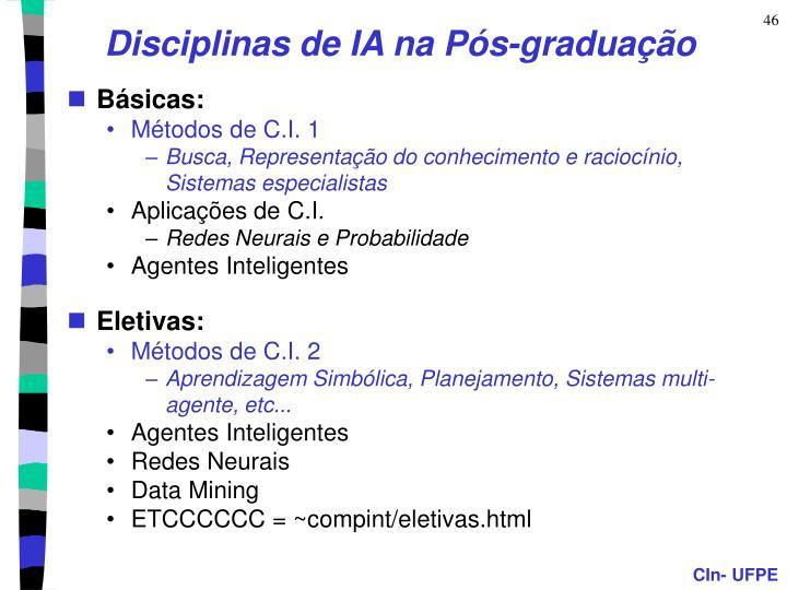 Disciplinas de IA na Pós-graduação
