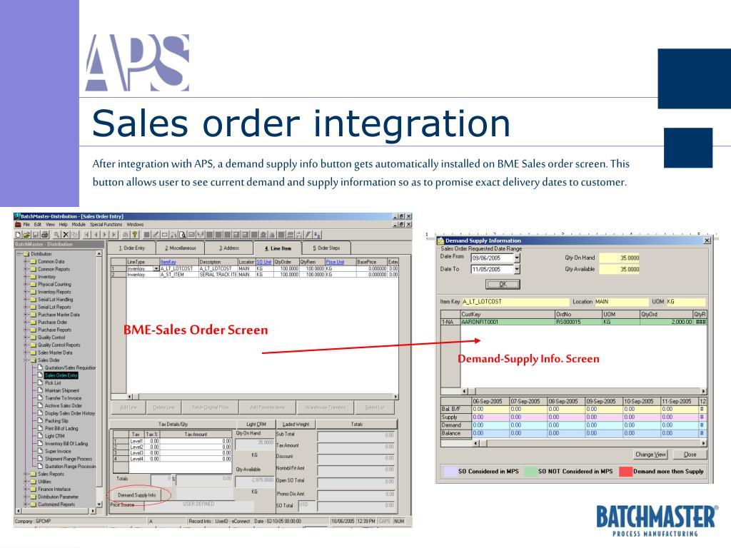 Sales order integration
