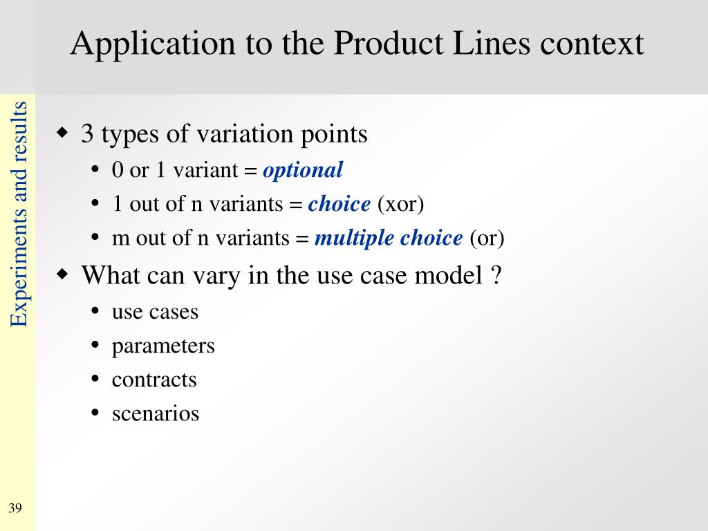 Application to the Product Lines context