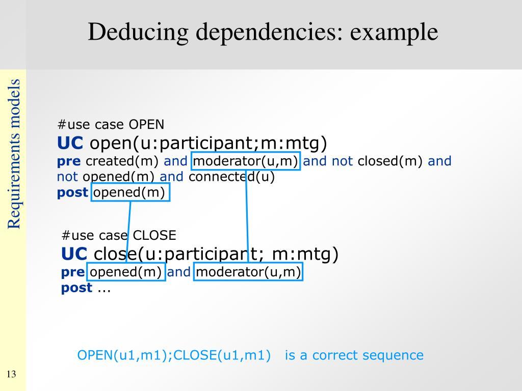 Deducing dependencies: example