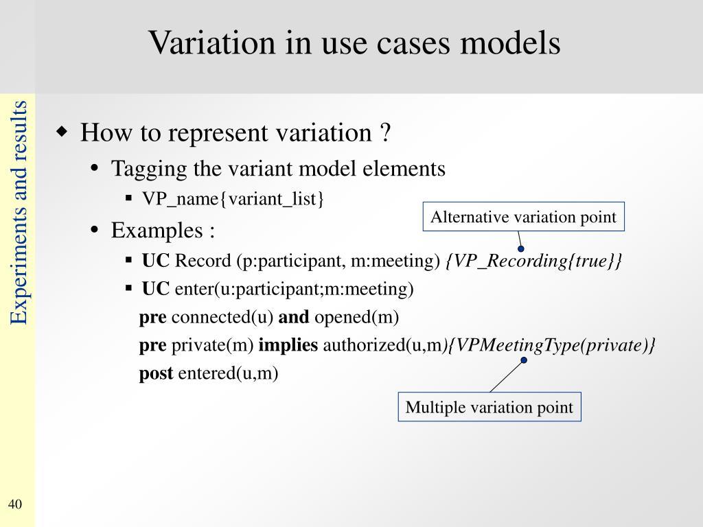 Variation in use cases models