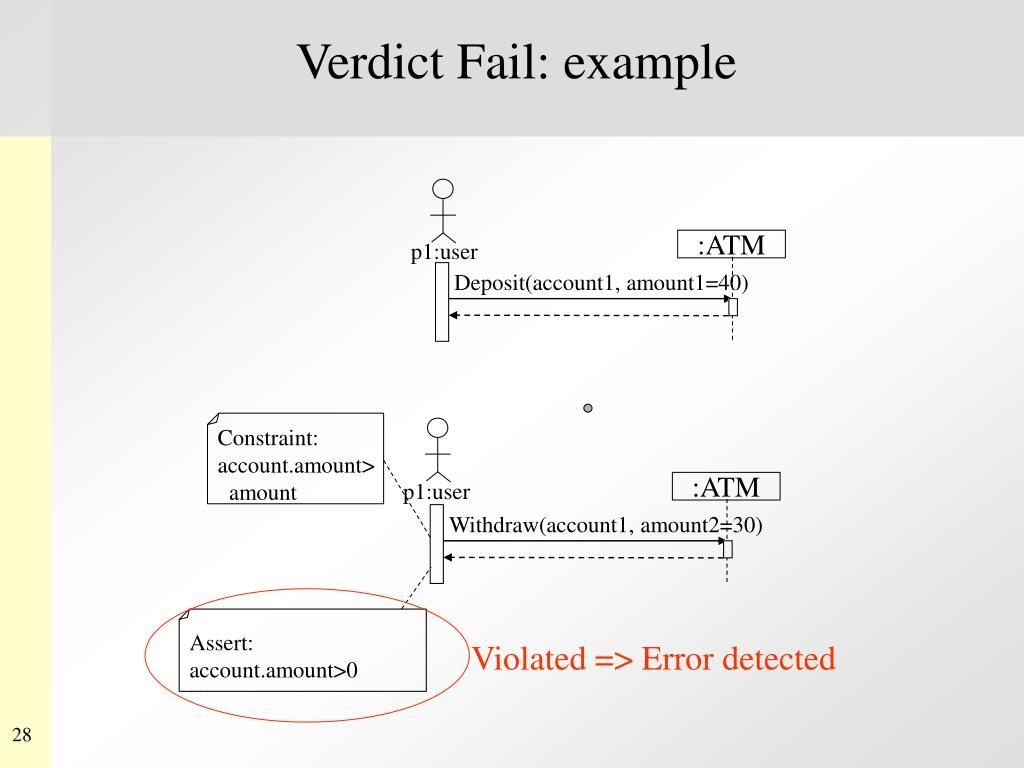 Verdict Fail: example
