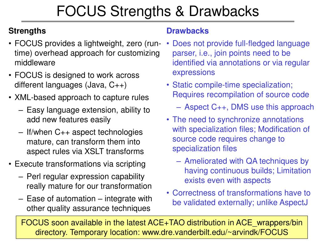 FOCUS Strengths & Drawbacks