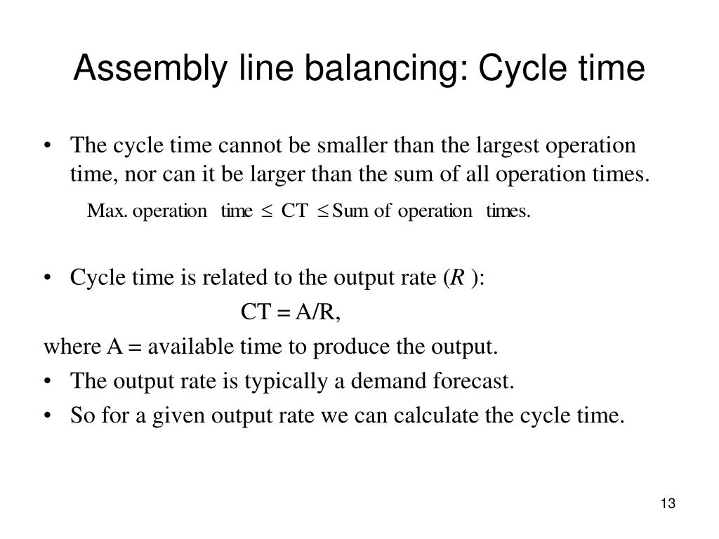 Assembly line balancing: Cycle time