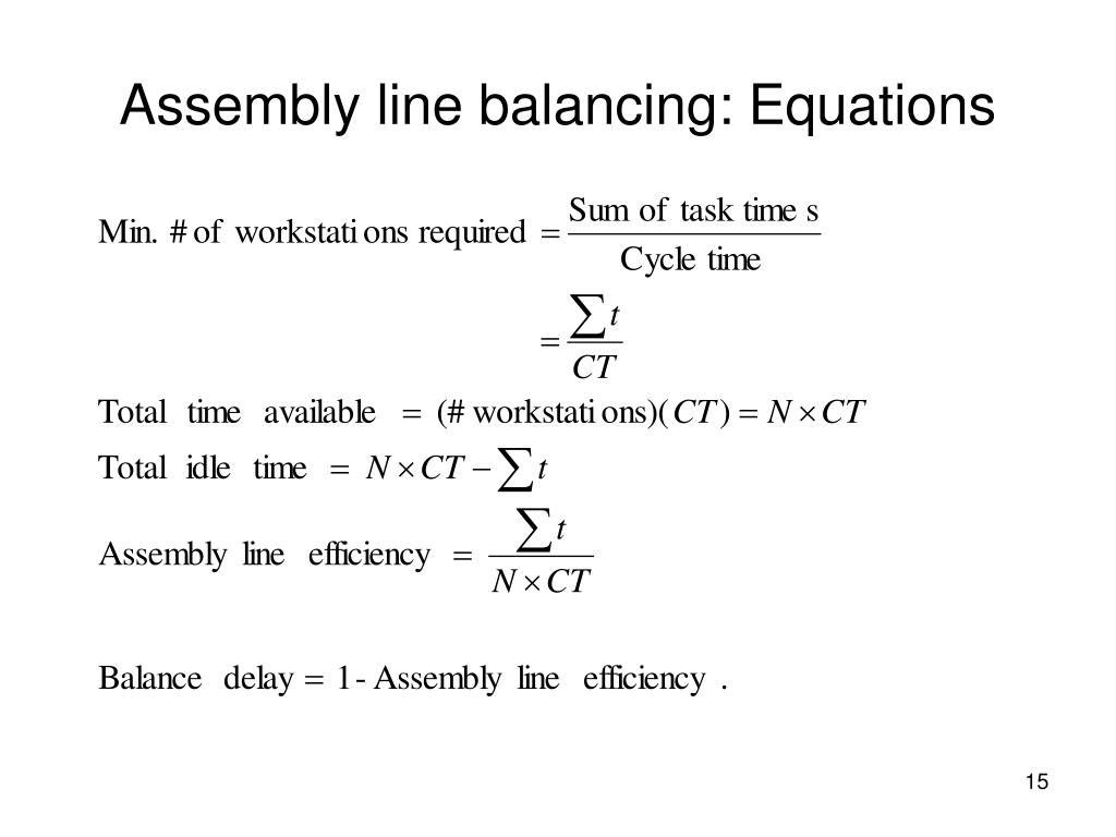 Assembly line balancing: Equations