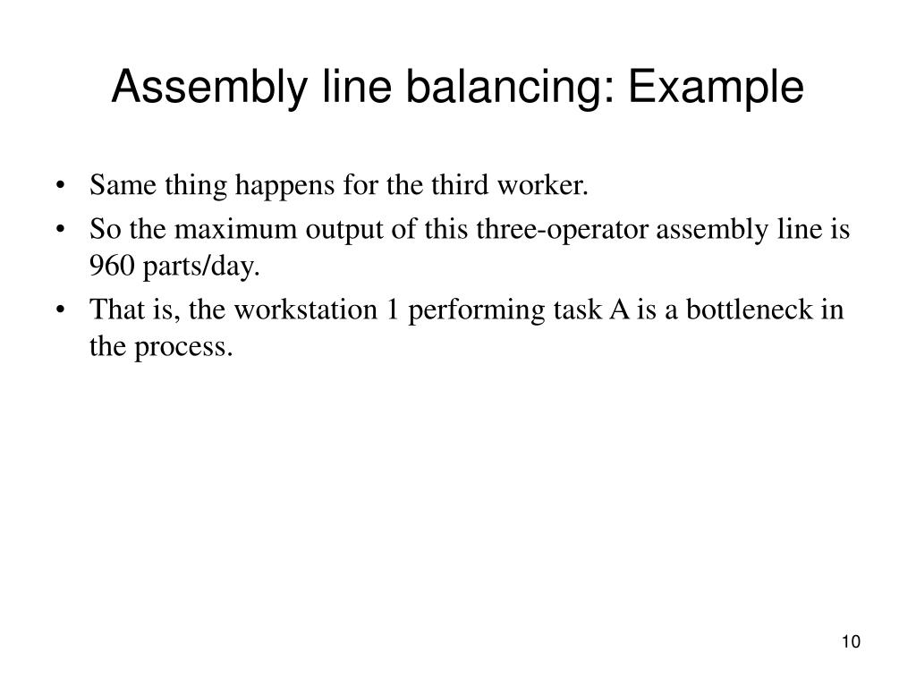 Assembly line balancing: Example