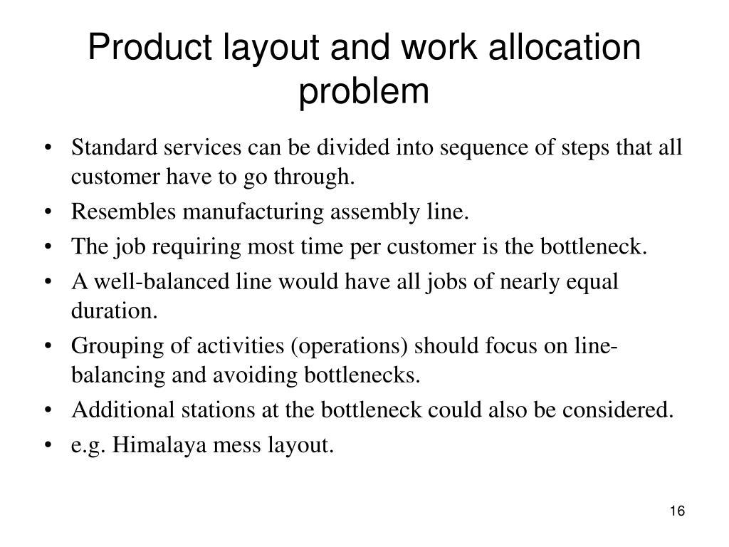 Product layout and work allocation problem