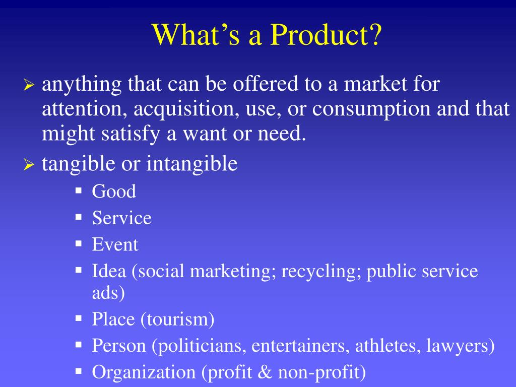 What's a Product?