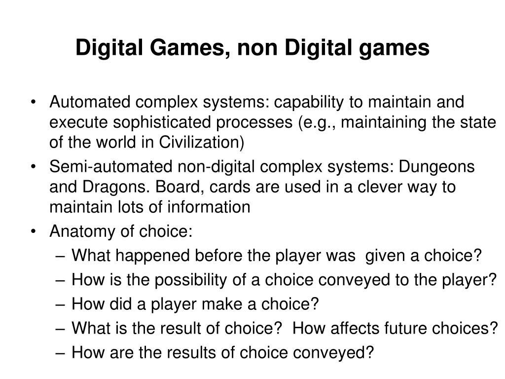 Digital Games, non Digital games