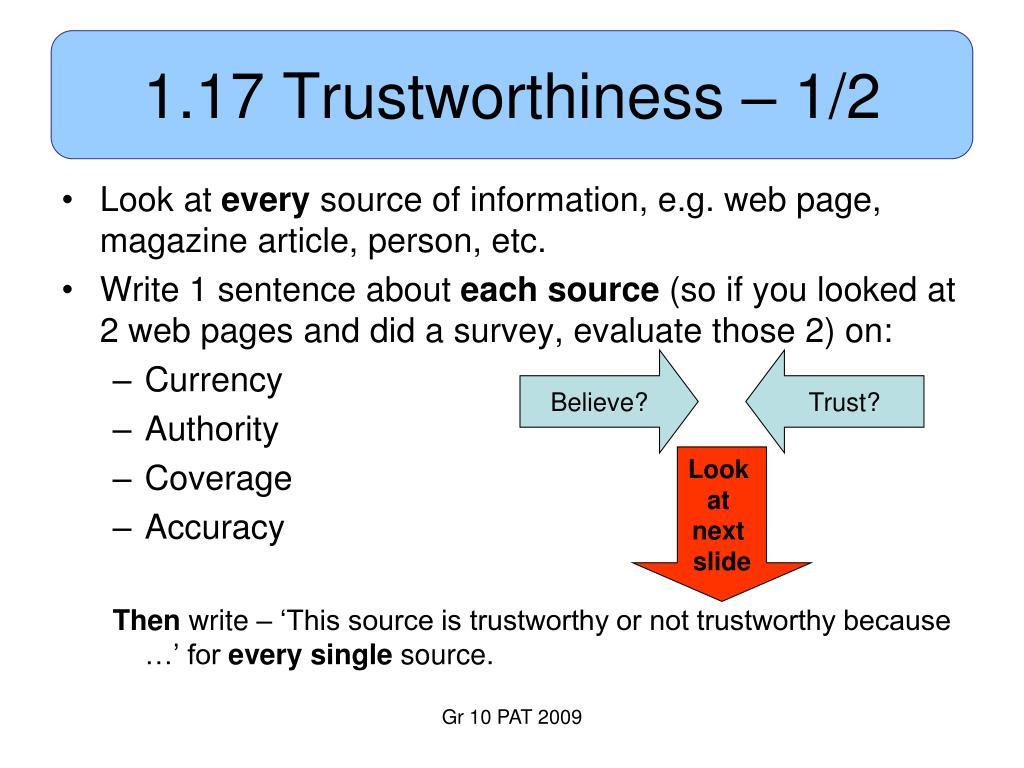 1.17 Trustworthiness – 1/2
