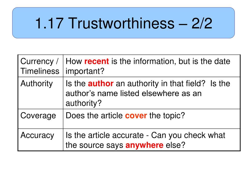 1.17 Trustworthiness – 2/2