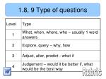 1 8 9 type of questions
