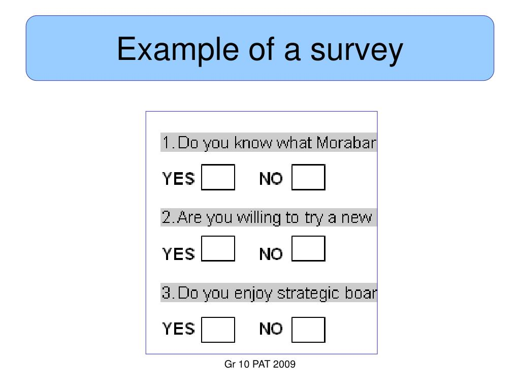 Example of a survey