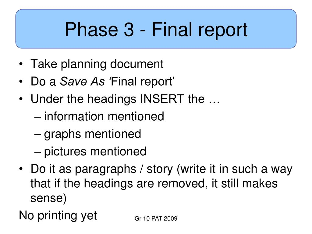 Phase 3 - Final report