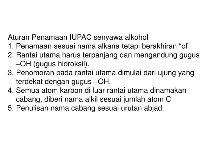 Aturan Penamaan IUPAC senyawa alkohol