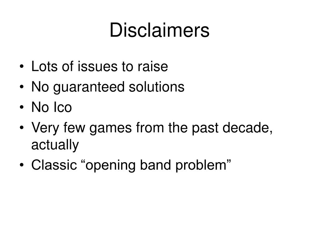 Disclaimers