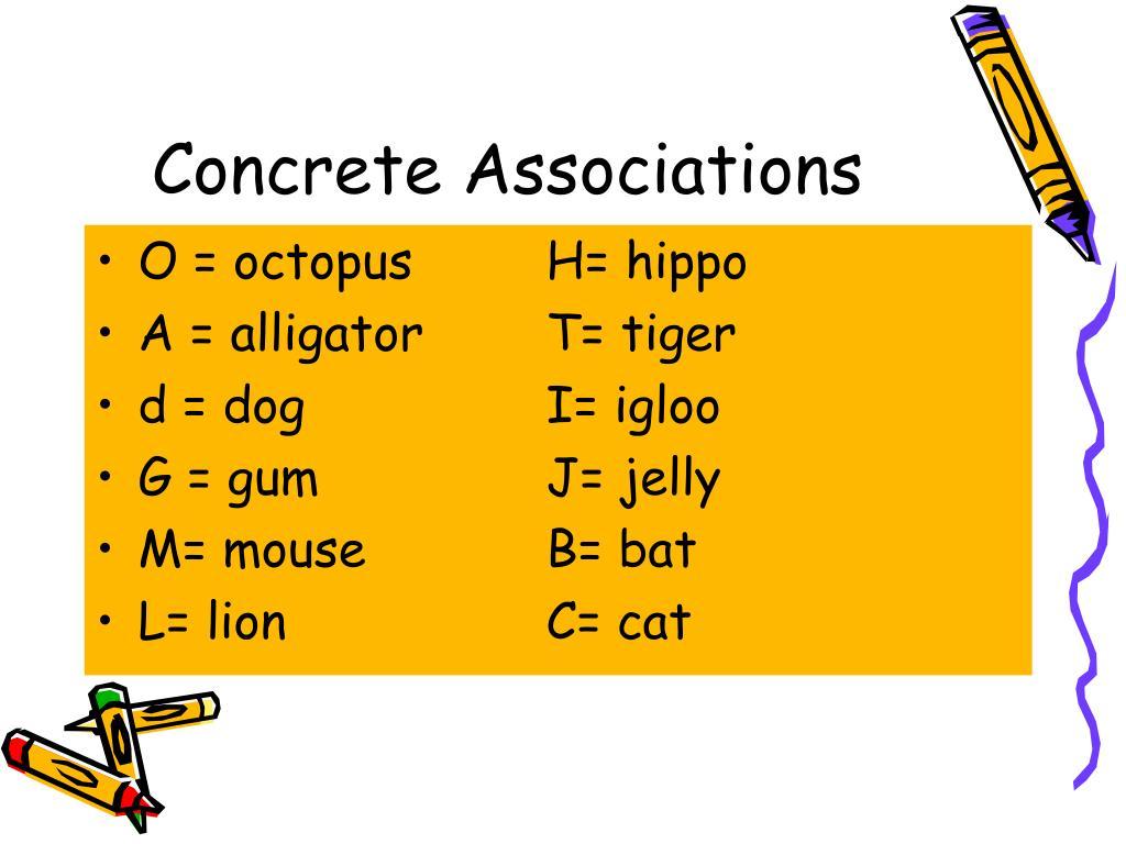 Concrete Associations