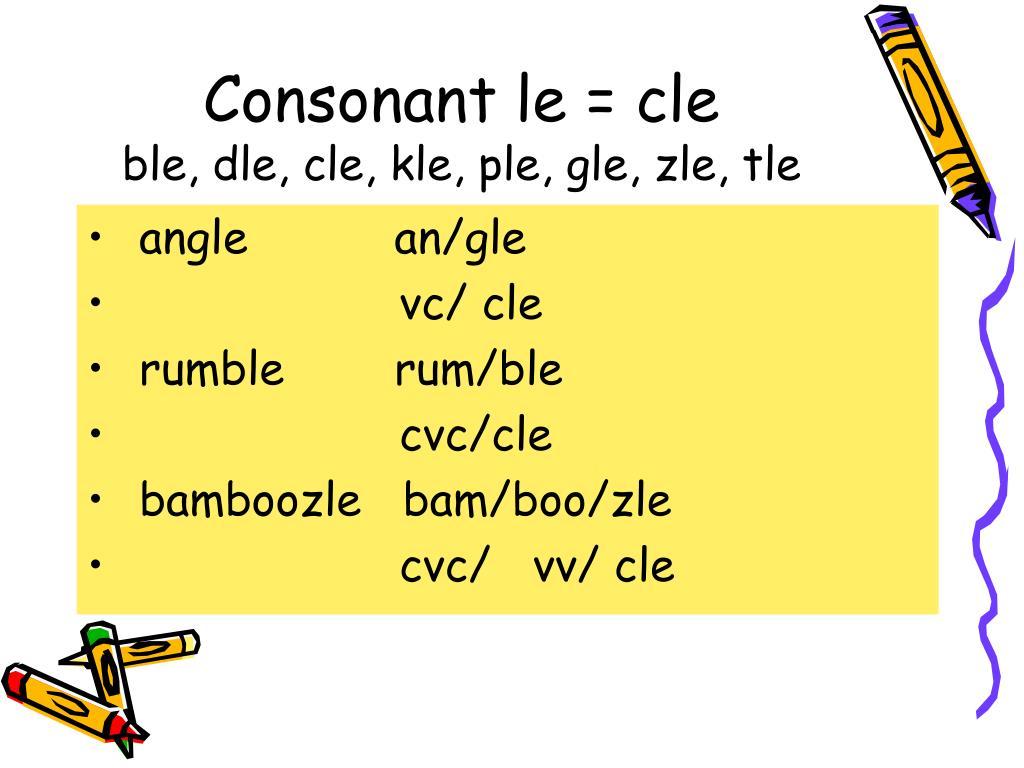 Consonant le = cle