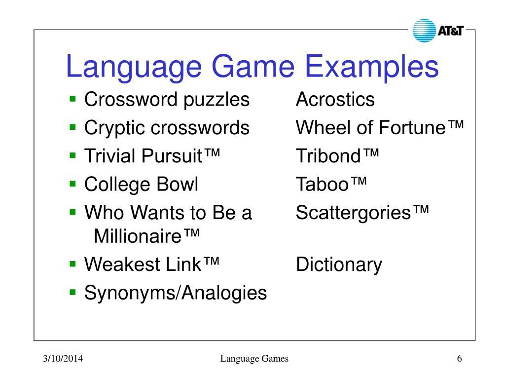 Language Game Examples