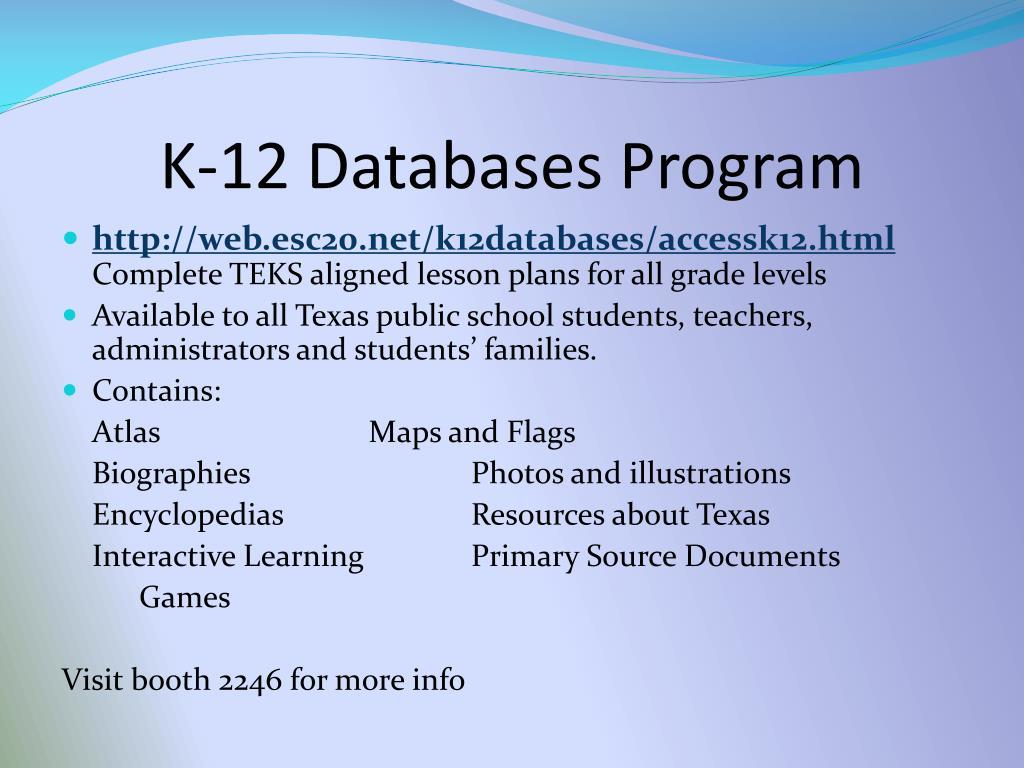 K-12 Databases Program