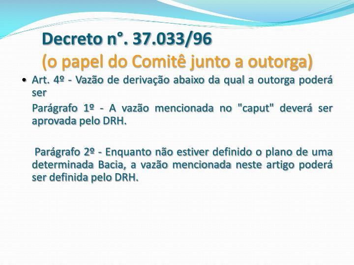 Decreto n°. 37.033/96