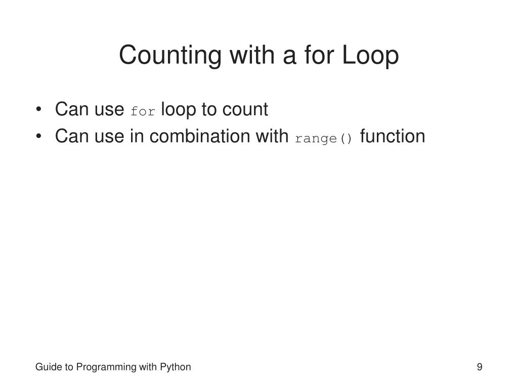 Counting with a for Loop